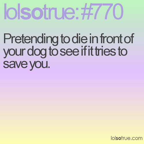 Pretending to die in front of your dog to see if it tries to save you.